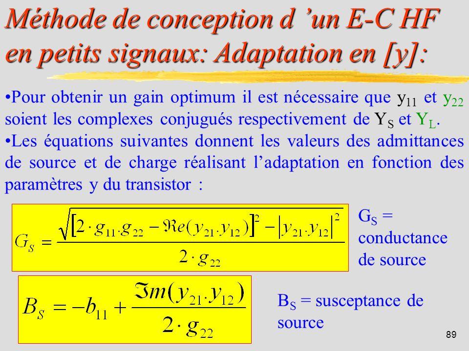 Méthode de conception d 'un E-C HF en petits signaux: Adaptation en [y]: